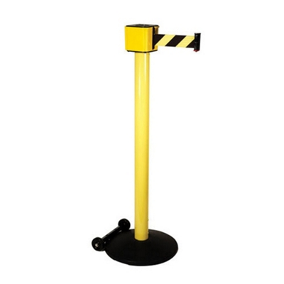 """Aluminum Crowd Control Post with 30' Patterned Belt - 40""""H"""