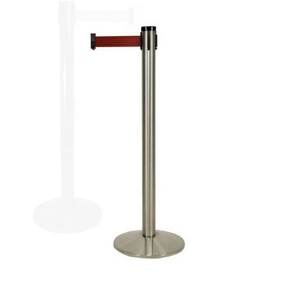 "Satin Aluminum Crowd Control Post with 10' Belt - 40""H"