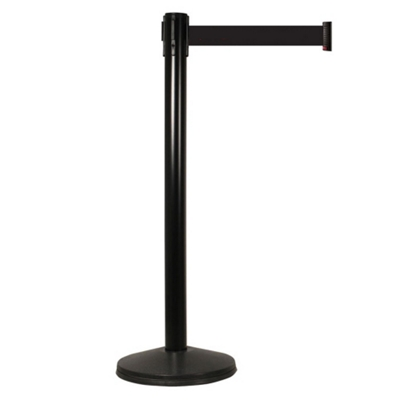 "Black Steel Crowd Control Post with 10' Black Belt - 40""H"
