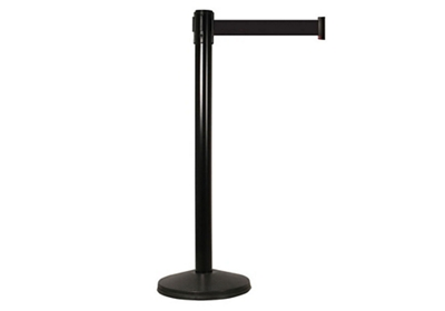 "40""H Black Aluminum Stanchion with 15ft Belt"