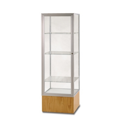"""Lockable Display Case with Oak Base - 72"""" H"""