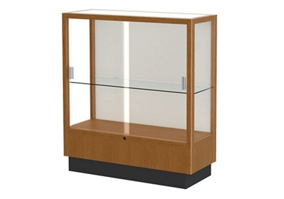 "Oak Trophy Display Case with White Back - 36""W x 40""H"