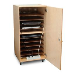"Mobile Ten Slot Laptop Storage Cabinet- 41""H"