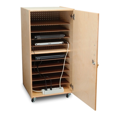 Mobile Ten Slot Laptop Storage Cabinet  41H   43397 And More Lifetime  Guarantee