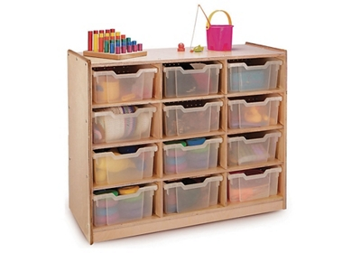 Storage Cabinet with 12 Clear Trays