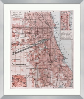 "Vintage Map of Chicago - 28""W x 33""H"