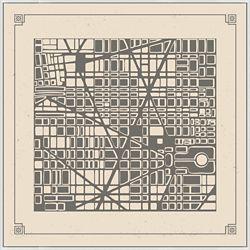 """Map City Plan - 51""""W x 51""""H"""