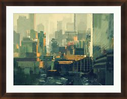 "Urban Sky-Scrapers at Sunset - 36""W x 28""H"