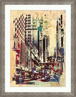 """Grunge Cityscape - 28""""W x 36""""H"""