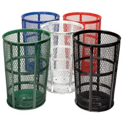 Perforated Steel Outdoor Waste Receptacle - 48 Gallon Capacity