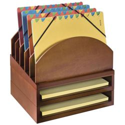 Set of Two Stacking Letter Trays & Five Slot File Tray