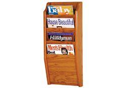 Oak Literature Rack with 4 Magazine Pockets