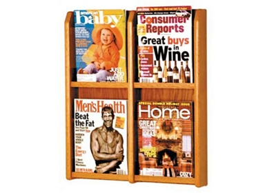 Oak Literature Rack with Acrylic Front 4 Magazine Pockets