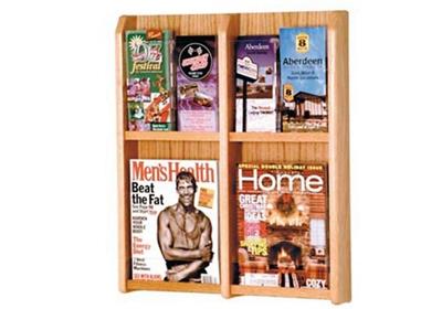 Oak Literature Rack with Acrylic Front 2 Magazine & 4 Brochure Pockets