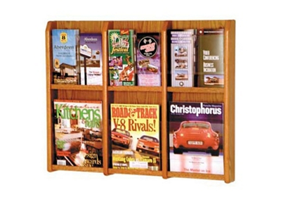 Oak Literature Rack with Acrylic Front 3 Magazine & 6 Brochure Pockets