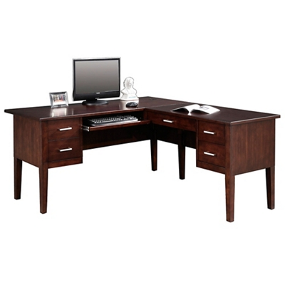 "Double Pedestal L-Desk - 62""W"
