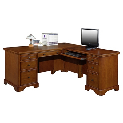 "Double Pedestal L-Desk - 66""W"