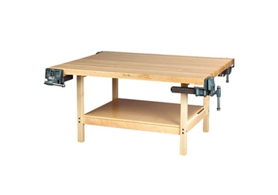 """Four Person Maple Workbench with Two Vices - 54"""" x 64"""""""