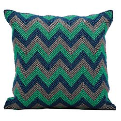 "kathy ireland by Nourison Beaded Chevron Accent Pillow - 16""W x 16""H"