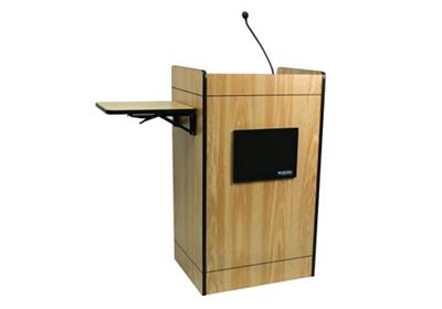 Podium with Gooseneck Microphone