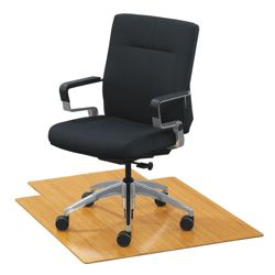 """Eco-Friendly Bamboo Wood Chair Mat with Lip - 36"""" x 48"""" x 5mm Thick"""