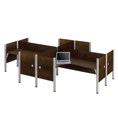 """Four Person L-Shaped Workstation with 12 43""""H Privacy Panels"""