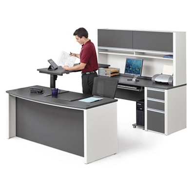 Executive U-Desk with Adjustable Height Bridge