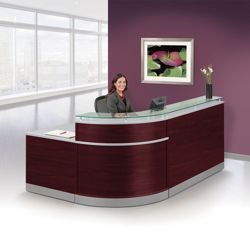 "Esquire Glass Top Reception Desk with ADA Return- 95""W x 64""D"