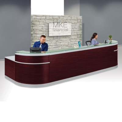 "Esquire Double Glass Top Reception Desk - 189""W x 63""D"