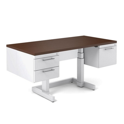 "Adjustable Height Executive Desk with Half Pedestals - 72""W x 30""D"
