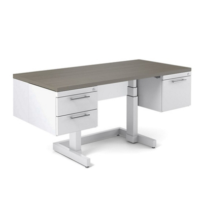 "Adjustable Height Executive Desk with Half Pedestals - 72""W x 36""D"