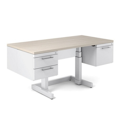 "Adjustable Height Desk with Half Pedestals - 60""W x 36""D"