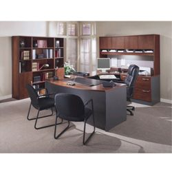 Complete Office Group U-Desk with Right Bridge