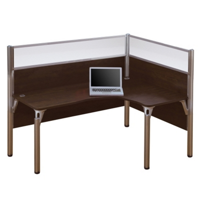 "Right L-Desk with Two 55.5""H Acrylic Privacy Panels"