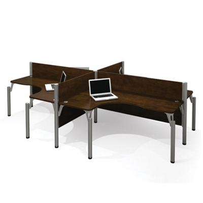"Four Person L-Shaped Workstation with Four 43""H Privacy Panels"
