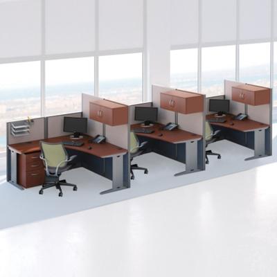 Three-Person L-Desk Workstation Set