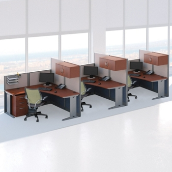 Three Person L Desk Workstation Set 75486