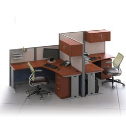 Two-Person L-Desk Workstation Set