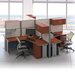 Four-Person L-Desk Workstation Set