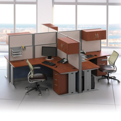 Elegant Four Person L Desk Workstation Set, 75489