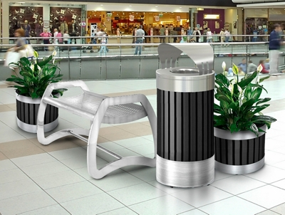Bench and Receptacle Set with Two Planters