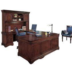 U-Desk with Curio Hutch and Left Return