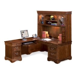 Pont Lafayette L-Desk with Left Return and Hutch Set