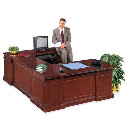 English Cherry Executive U-Desk with Right Bridge