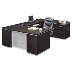 Executive U Desk with Right Bridge - Ready to Assemble
