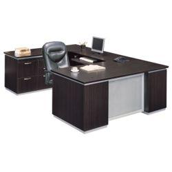 Executive U Desk with Left Bridge - Ready to Assemble