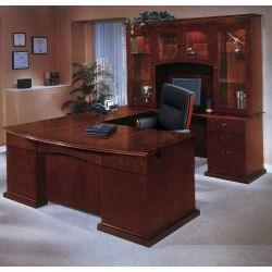 Bow Front U-Shape Desk with Right Return and Hutch