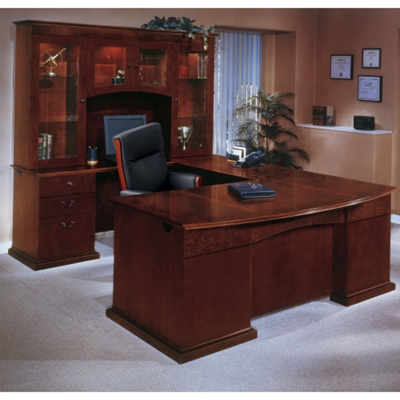 bow front ushape desk with left return and hutch and more lifetime guarantee