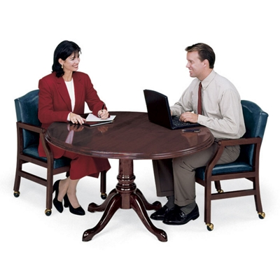 """Traditional Mahogany Round Conference Table - 48"""" Diameter"""