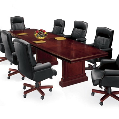 "English Cherry Traditional Boat Shape Conference Table - 120"" x  48"""